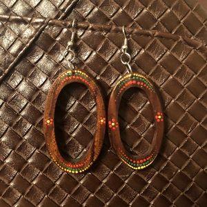 Jewelry - Rasta hand painted wooden hoop earrings